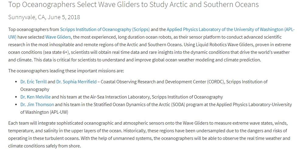 Top Oceanographers Select Wave Gliders to Study Arctic and Southern Oceans