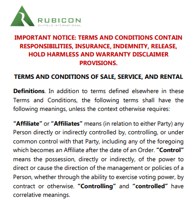 Global Terms and Conditions of Sale, Service and Rental