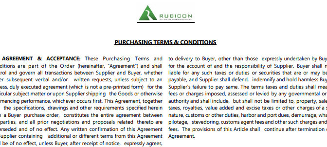 Terms and Conditions – Purchasing